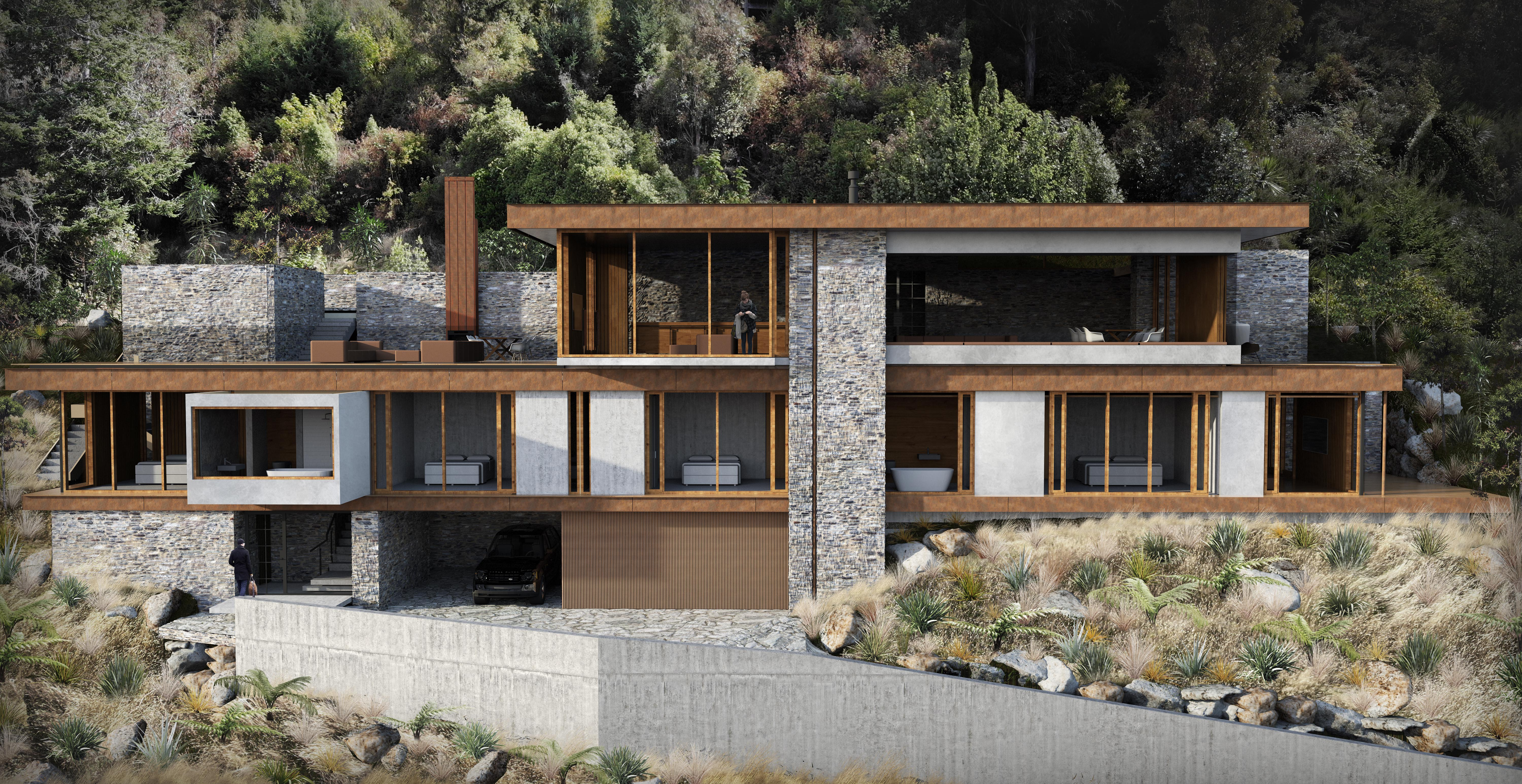 Assembly Architects Queenstown holiday house, schist stone, render, virtual reality, corten steel.