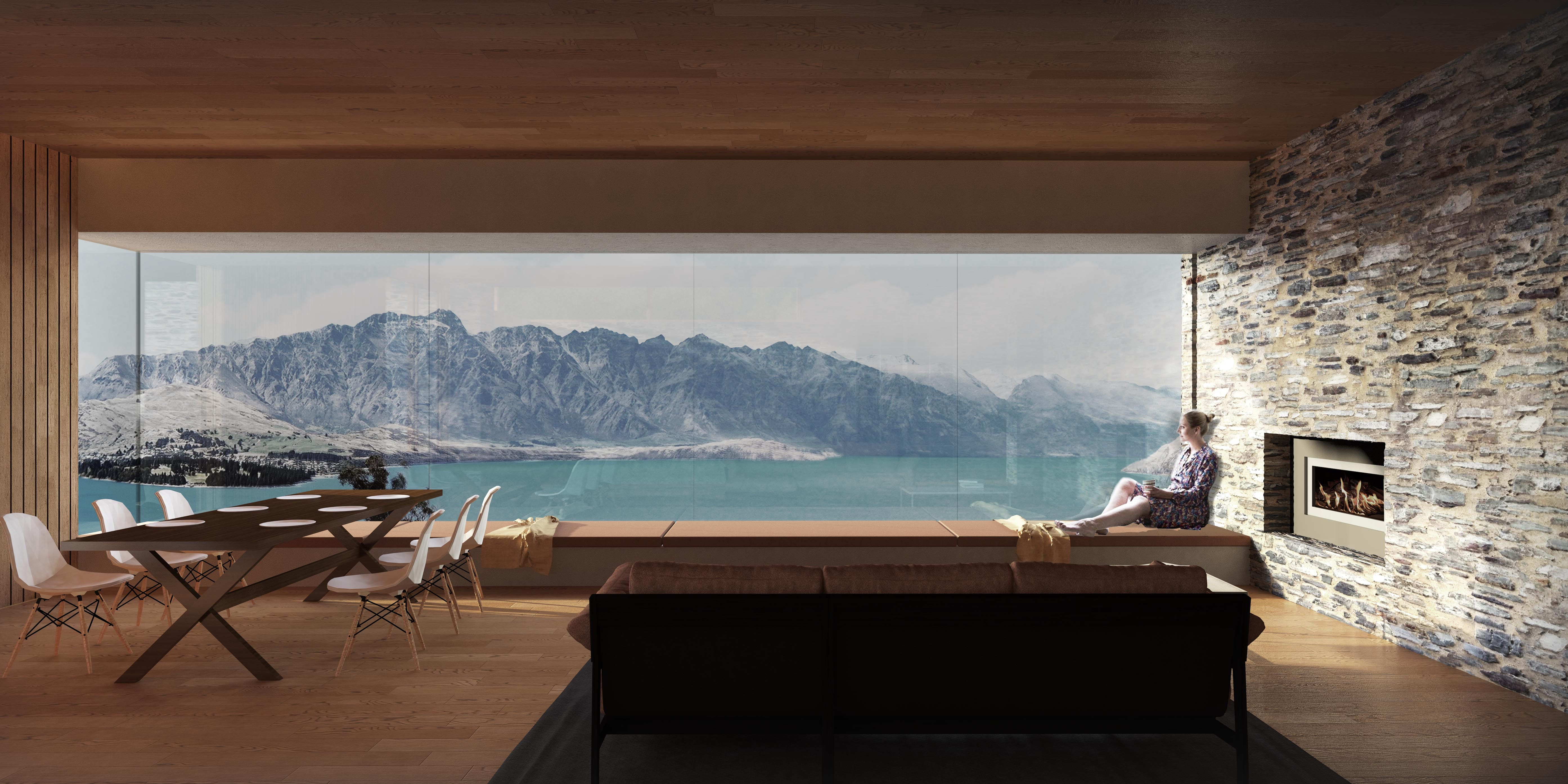 Assembly Architects Queenstown holiday house, Remarkables, virtual reality, render, schist house