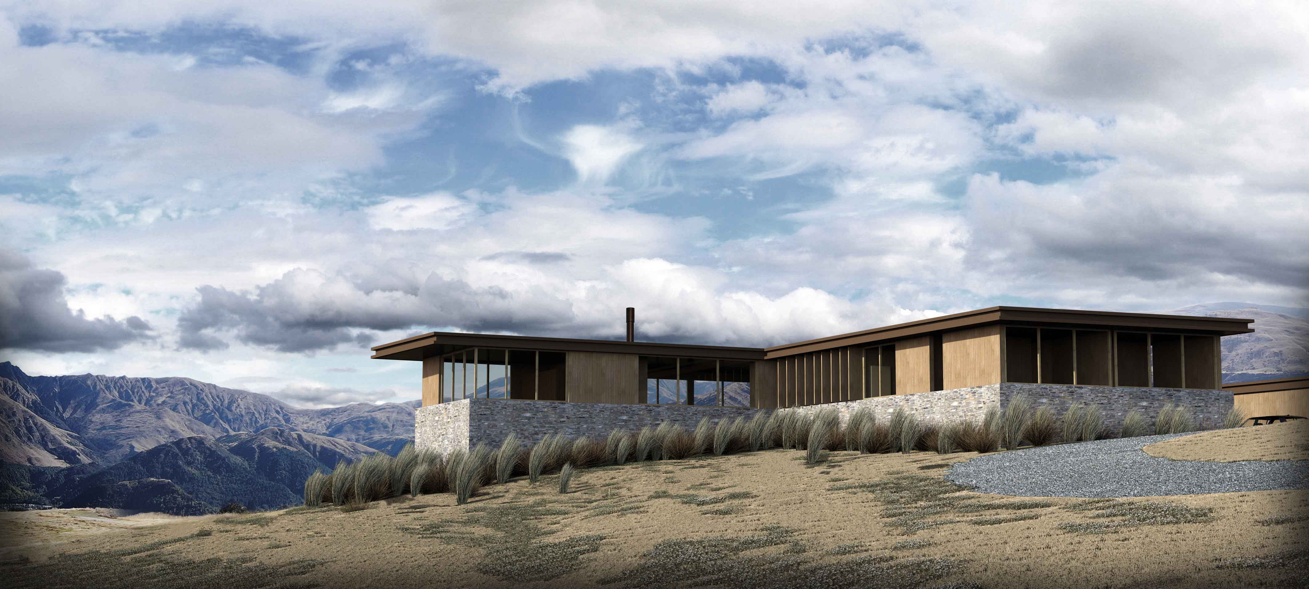 Render of Bendemeer home in Queenstown with views of Brow Peak, Arrowtown - by Assembly Architects Limited